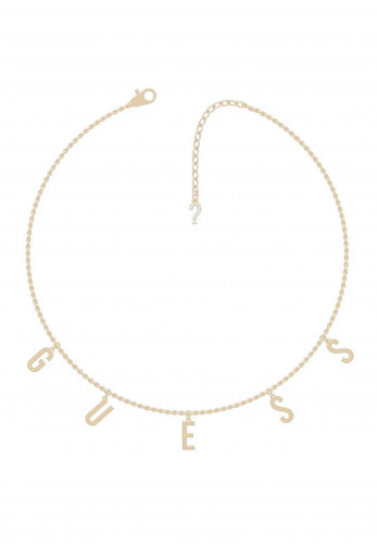 Guess Los Angeles Letter Charm Necklace, Rose Gold