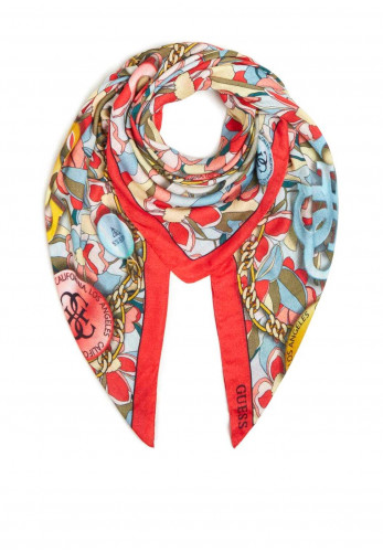 Guess Kefiah Floral and Chain Print Scarf, Floral Multi