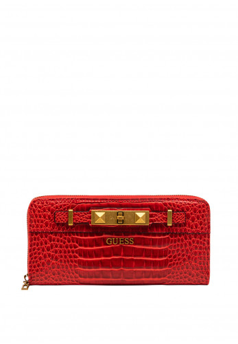 Guess Raffle SLG Zip Around Large Wallet, Red