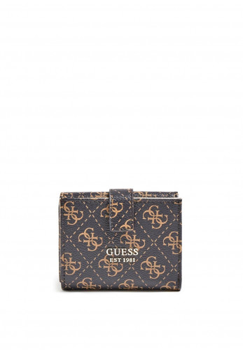 Guess Tyren SLG Mini Button Close Purse, Brown and Black