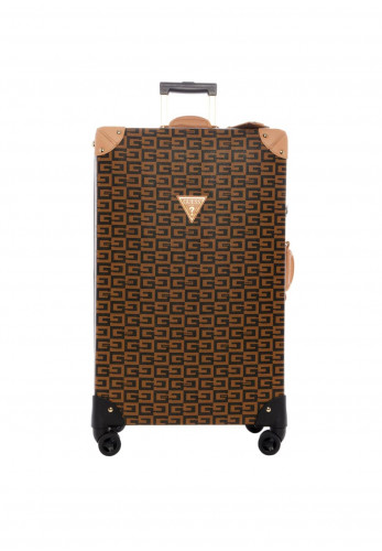 Guess 40th Anniversary Travel Large 8 Wheel Spinner, Brown