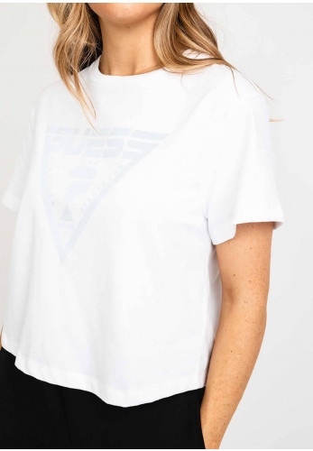 Guess Oversized Crop Logo Tee, White