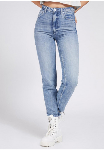 Guess Womens Start Tapered High Mom Jean, Blue