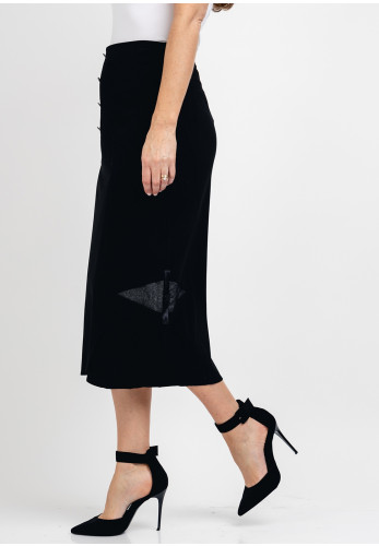 Guzella Mesh Trim Midi Skirt, Black