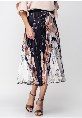 Guzella Floral Print Pleated Midi Skirt, Brown Multi