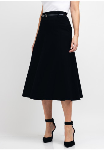 Guzella Belted A-Line Midi Skirt, Black