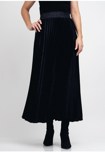Guzella Metallic Sheen Pleated Midi Skirt, Black