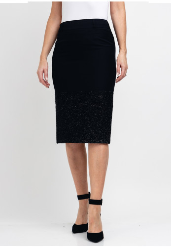 Guzella Metallic Trim Pencil Skirt, Black