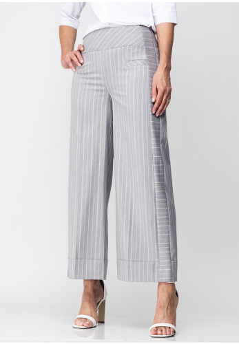 Guzella Striped Cropped Wide Leg Trousers, Grey