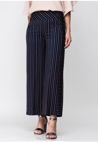 Guzella Striped Cropped Wide Leg Trousers, Navy