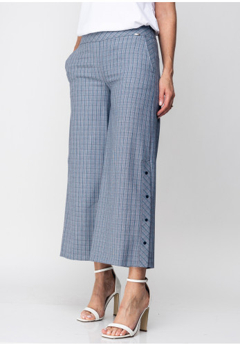 Guzella Checked Cropped Wide Leg Trousers, Blue