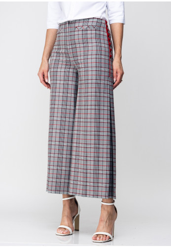 Guzella Button Trim Check Cropped Wide Leg Trousers, Grey