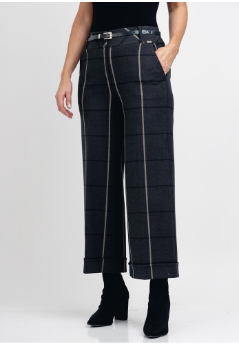 Guzella Check Wide Leg Cropped Trousers, Grey
