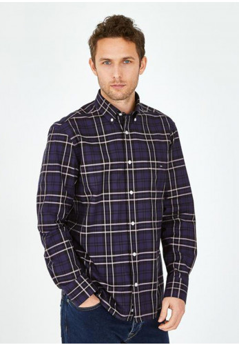 Eden Park Wide Check Shirt, Navy Blue