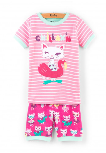Hatley Girls Feline Short Pajamas, Pink