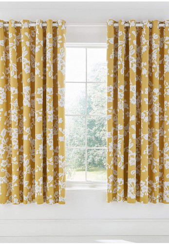 "Moda by Helena Springfield Bouvardia 66 x 72"" Eyelet Curtains, Honey"