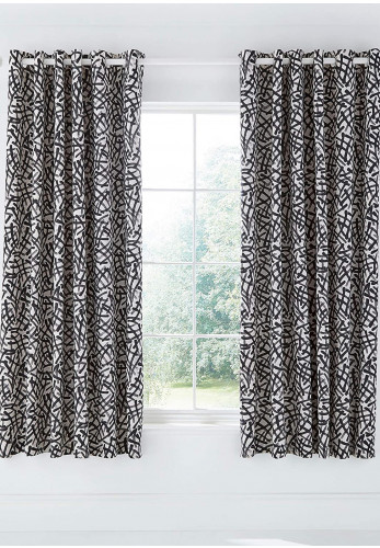 "Moda by Helena Springfield Anise 66 x 72"" Eyelet Curtains, Charcoal"