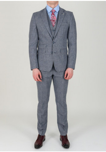 Herbie Frogg Blue Grey Check 3 Piece Suit