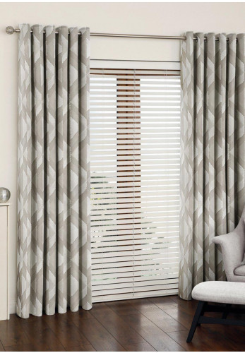 Aura Mali Eyelet Fully Lined Curtains, Sandstone