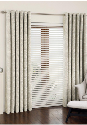 Aura Nauru Eyelet Fully Lined Curtains, Alabaster