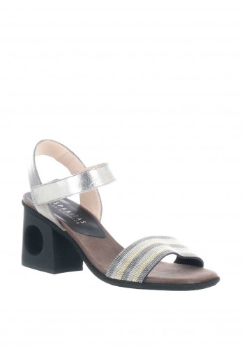 Hispanitas Metallic Leather Block Heel Sandals, Pewter