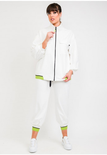 Hukka Ribbed Cuff Joggers, White & Lime