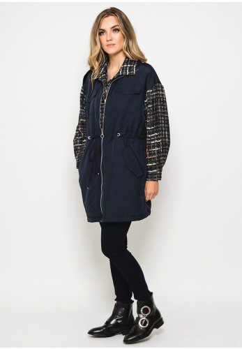 Hukka Boucle Mix Relaxed Fit Jacket, Navy