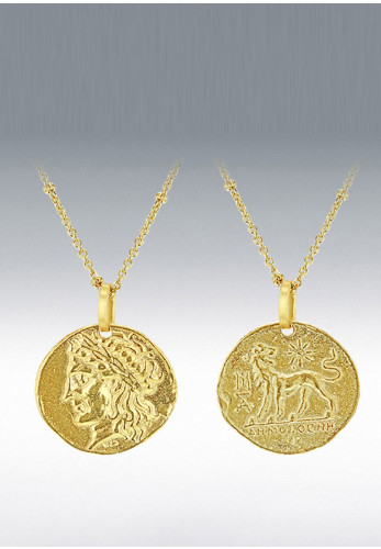 9 Carat Gold 2Sided Caser Coin Necklace, Gold