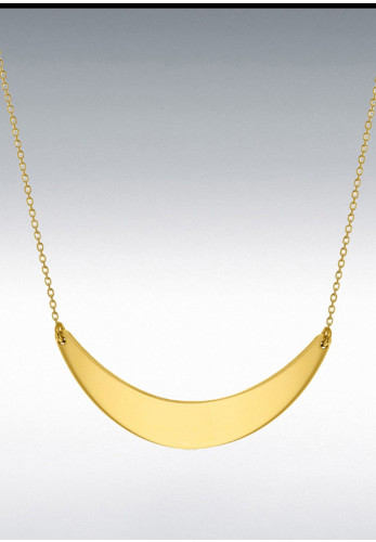 Sterling Silver Yellow Gold Plated Crescent Bar Necklace, Gold