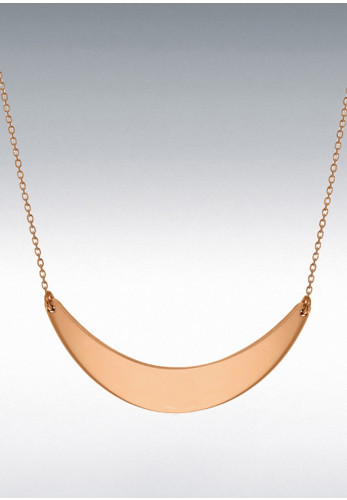 Sterling Silver Yellow Gold Plated Crescent Bar Necklace, Rose Gold