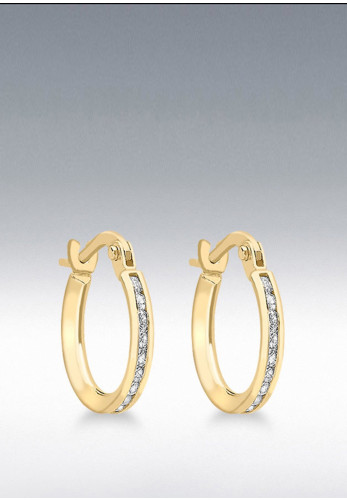 9 Carat Gold CZ Band Hoop Earrings, Gold