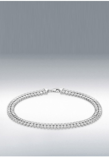 Sterling Silver Plated Round Double Row Bracelet, Silver