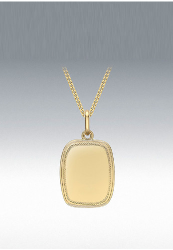 9 Carat Gold Edge Tag Pendant Necklace, Gold