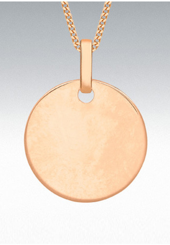 9 Carat Gold Round Disc Pendant Necklace, Rose Gold