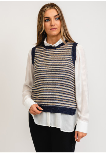 b.young Mila Striped Knitted Vest, Blue Multi