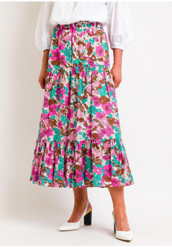 I Blues Ixie Printed Floral Maxi Skirt, Pink Multi