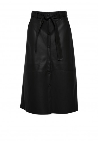 Ichi Faux Leather Buttoned Midi Skirt, Black