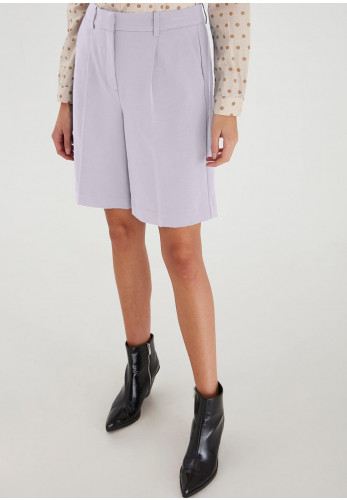 Ichi High Waisted Pleated Suit Shorts, Purple