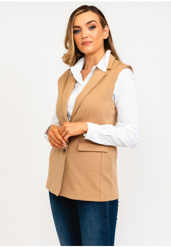 B Young Single Breasted Waistcoat, Camel