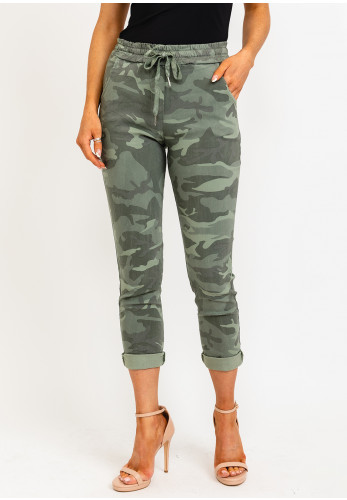 The Casual Company Leo Camouflage Print Joggers, Green