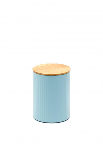 Ideal Home Range Small Ribbed Storage Tin with Bamboo Lid, Pastel Blue