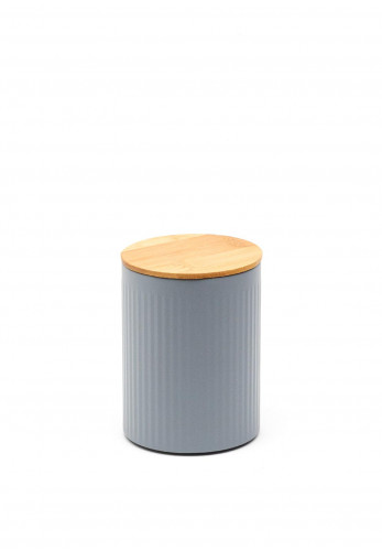Ideal Home Range Small Ribbed Storage Tin with Bamboo Lid, Grey