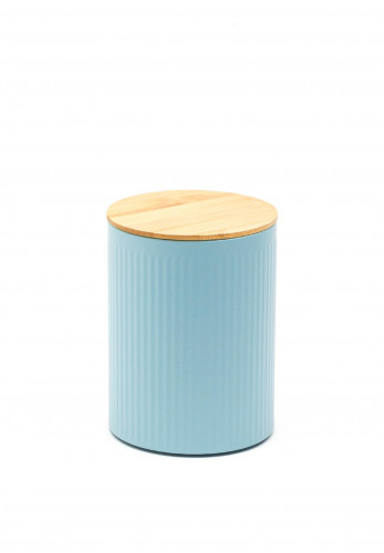 Ideal Home Range Medium Ribbed Storage Tin with Bamboo Lid, Pastel Blue