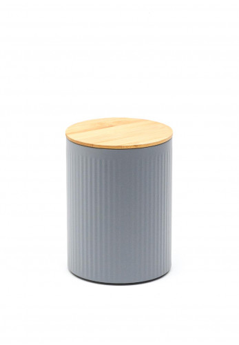 Ideal Home Range Medium Ribbed Storage Tin with Bamboo Lid, Grey
