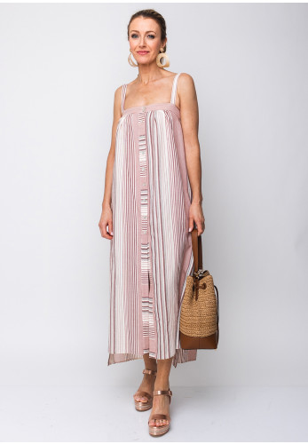 Moutaki Striped Cotton Maxi Dress, Red Multi