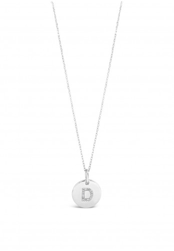Absolute D Initial Necklace, Silver