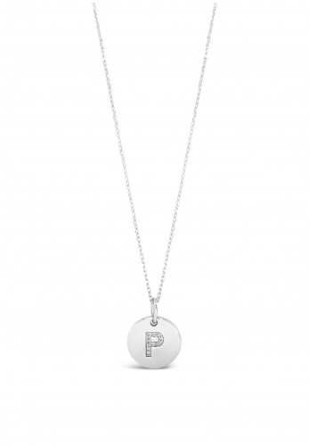 Absolute P Initial Necklace, Silver