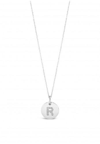 Absolute R Initial Necklace, Silver