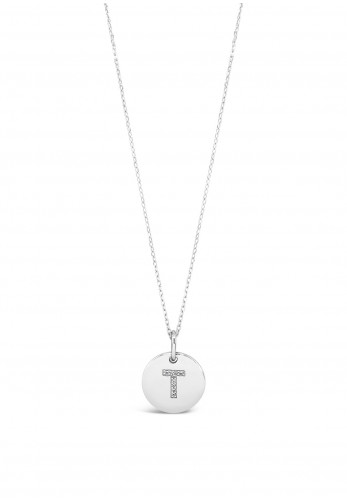 Absolute T Initial Necklace, Silver