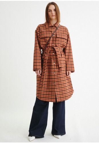 Inwear Silju Check Wool Rich Coat, Tan